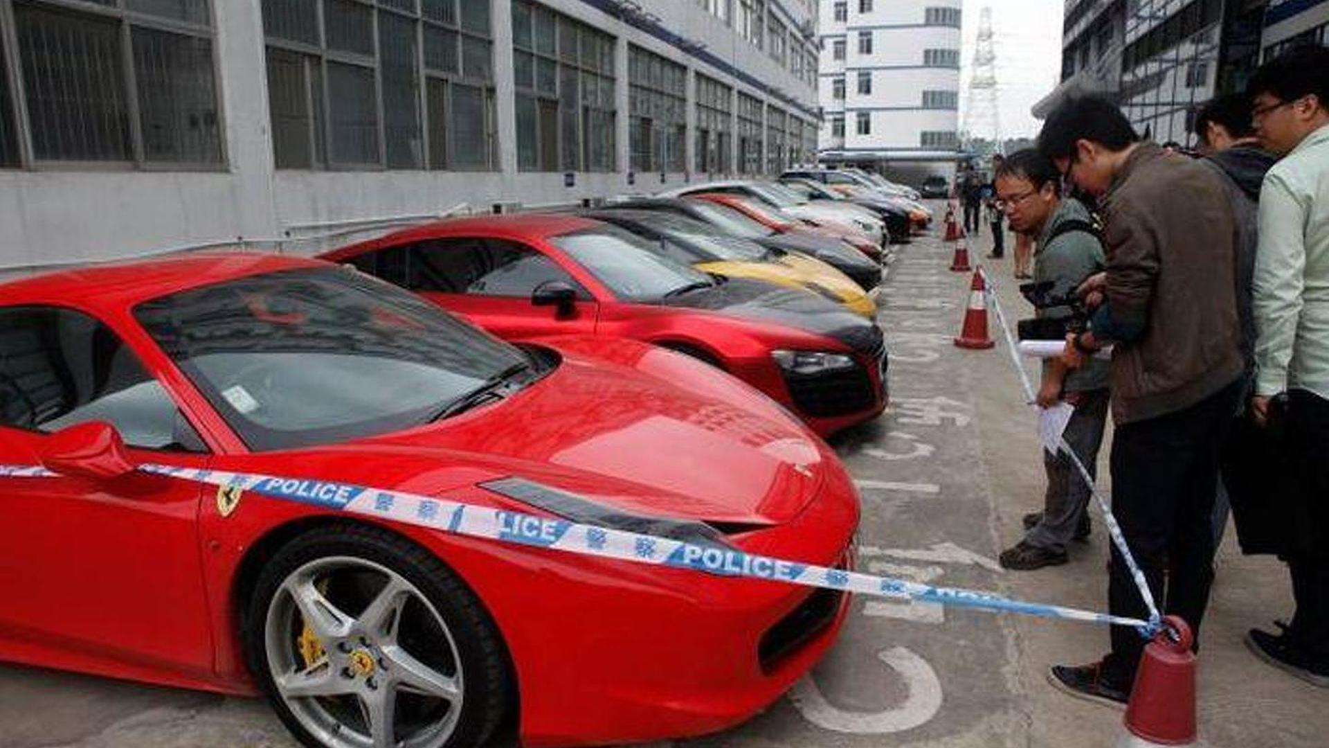 Twelve supercars seized by Chinese police