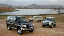 2007 Toyota LandCruiser 70 Series: (L-R) LC76 Wagon GXL, LC78 Troop Carrier GXL and LC79 Cab Chassis GXL