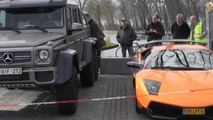 Size comparison: Lamborghini Murcielago SV vs Mercedes-Benz G63 AMG 6x6 [video]