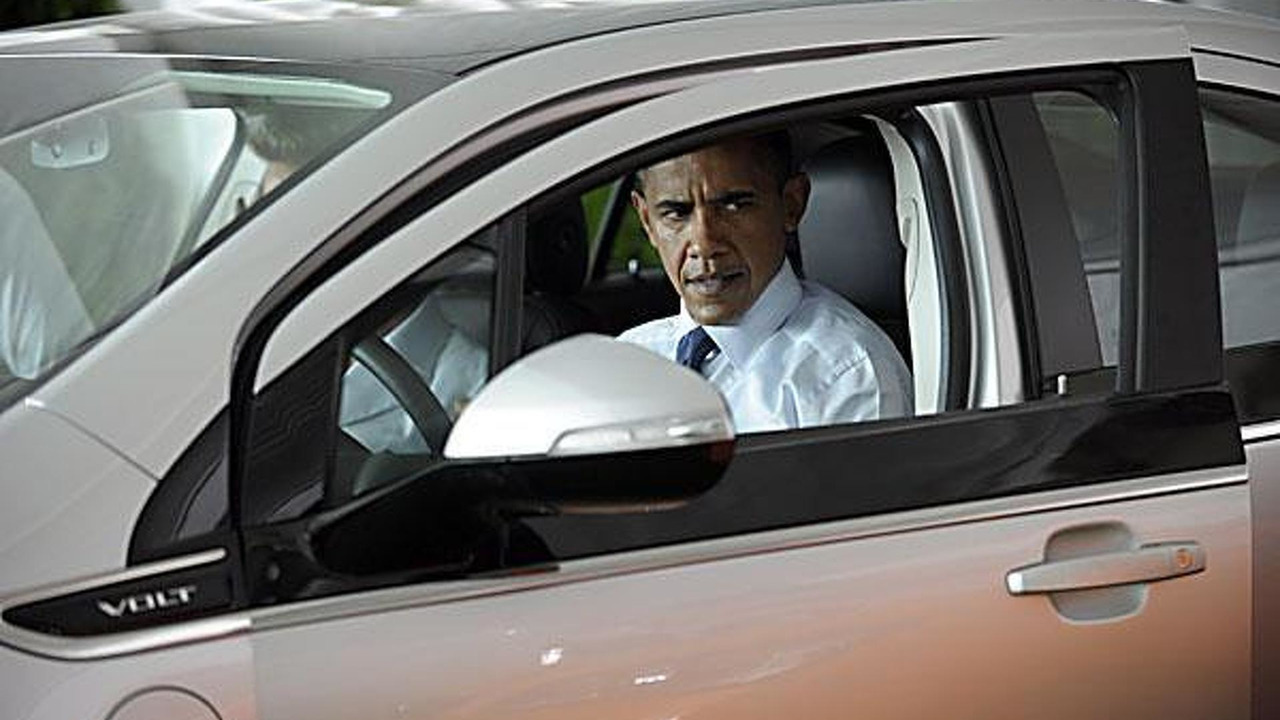Barack Obama in a Chevrolet Volt