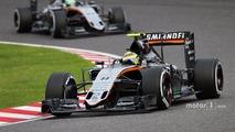 Sergio Perez, Sahara Force India F1 VJM09 leads team mate Nico Hulkenberg, Sahara Force India F1 VJM09