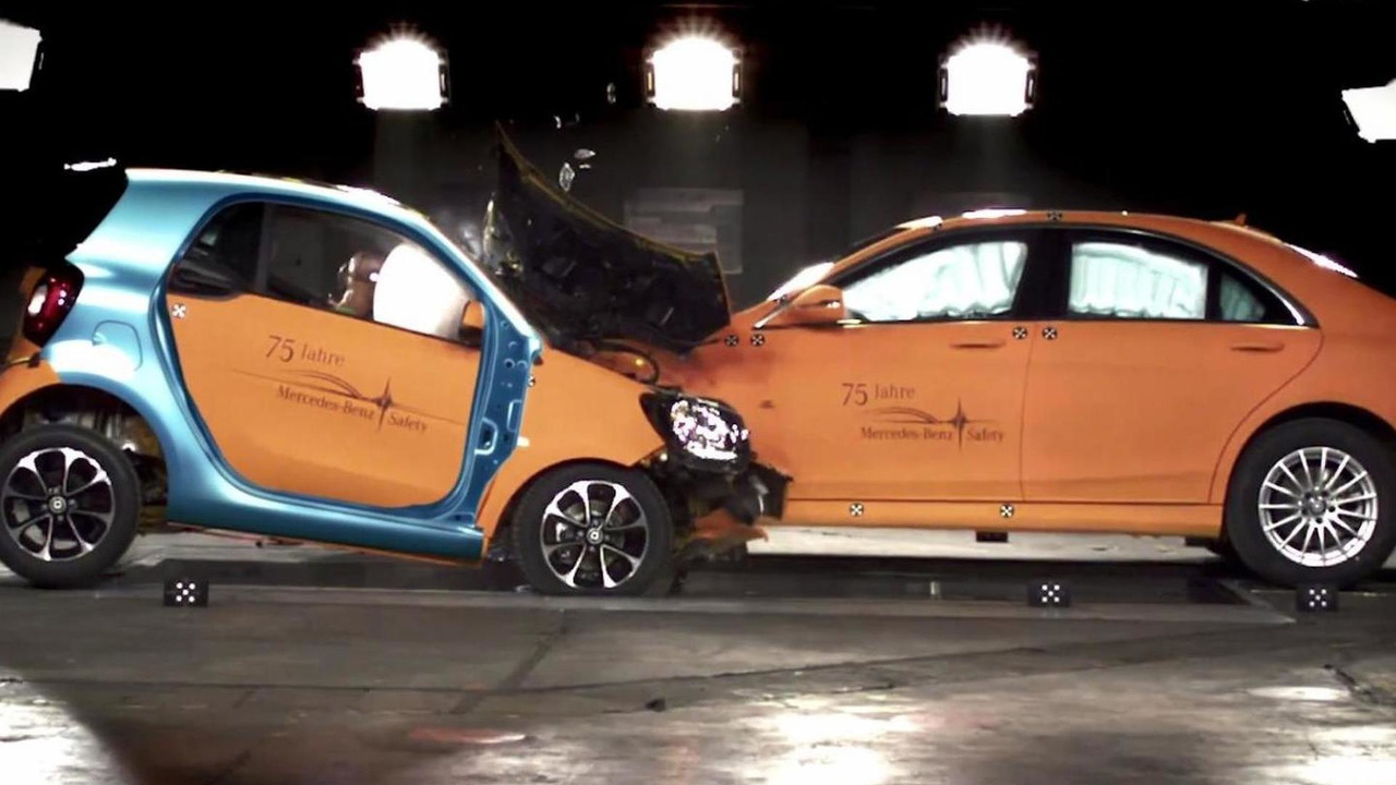 2015 Smart ForTwo and Mercedes-Benz S-Class crash test