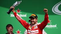 Podium- third place Sebastian Vettel, Ferrari
