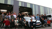 Nissan GT-R Chief Vehicle Engineer Kazutoshi Mizuno with Nissan test team
