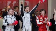 Rubens Barichello, Jenson Button, Kimi Raikkonen Podium Celebrations, 2009 Monaco grand prix