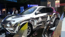 Infiniti displays chrome wrapped ESQ in front of Beijing mall