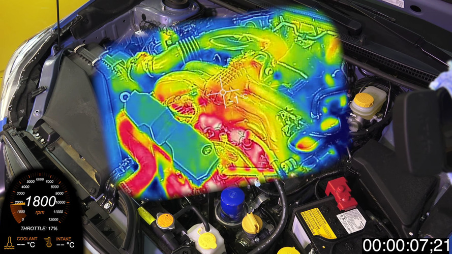 Thermal camera shows how quickly an engine warms up