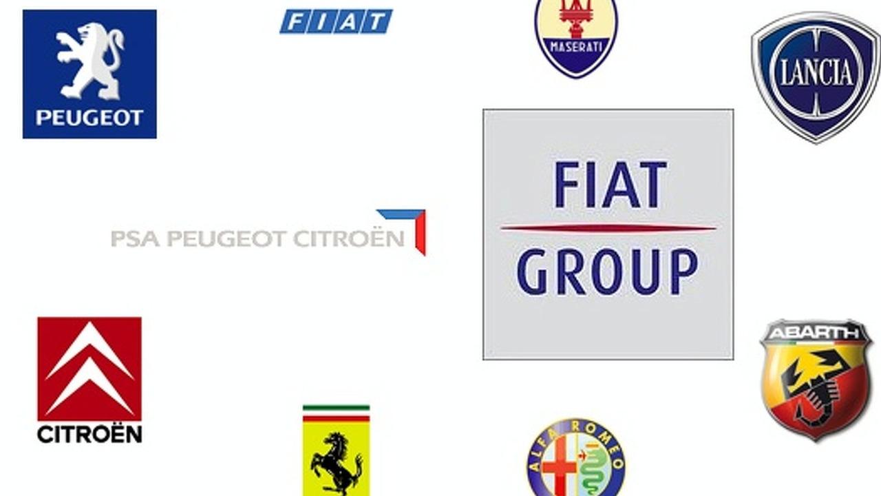 Fiat and PSA-Citroen group logos