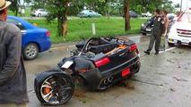 Lamborghini Gallardo driver uninjured after crash splits car in two