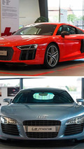 2003 Audi Le Mans quattro concept and 2015 Audi R8 V10 Plus