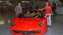 Felipe Massa and Amedeo Felisa in Maranello posing with Ferrari 458 Italia, 05.10.2009