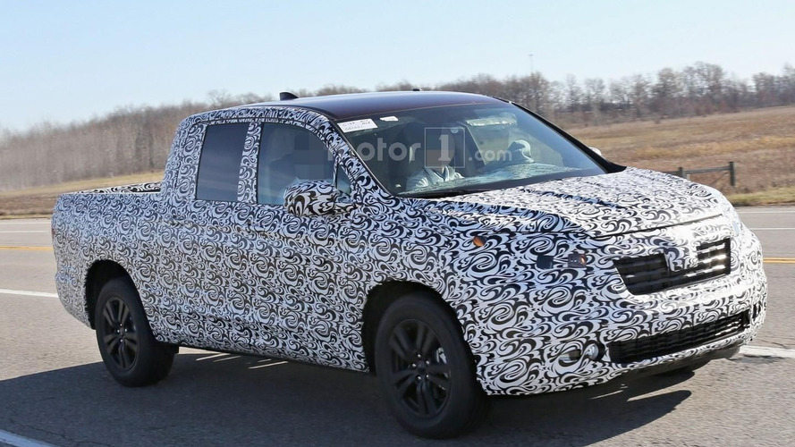 2017 Honda Ridgeline spied with swirly camo hiding conventional C-pillar