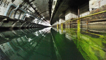 Land Rover Journey of Discovery in former Soviet submarine base, Ukraine 02.04.2012