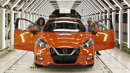 First Nissan Micras roll down the line