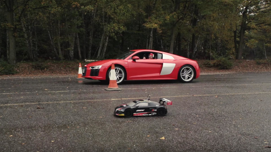 Watch an Audi R8 RC car race the real thing