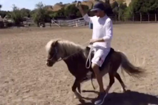 It's the Weekend, Here's Steph Curry Riding a Mini Horse
