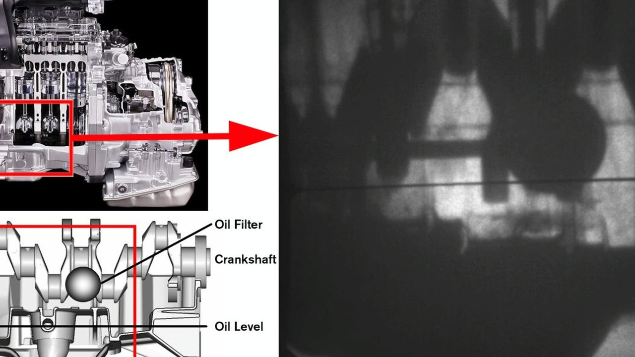 High-speed video of moving oil inside the engine (capture)