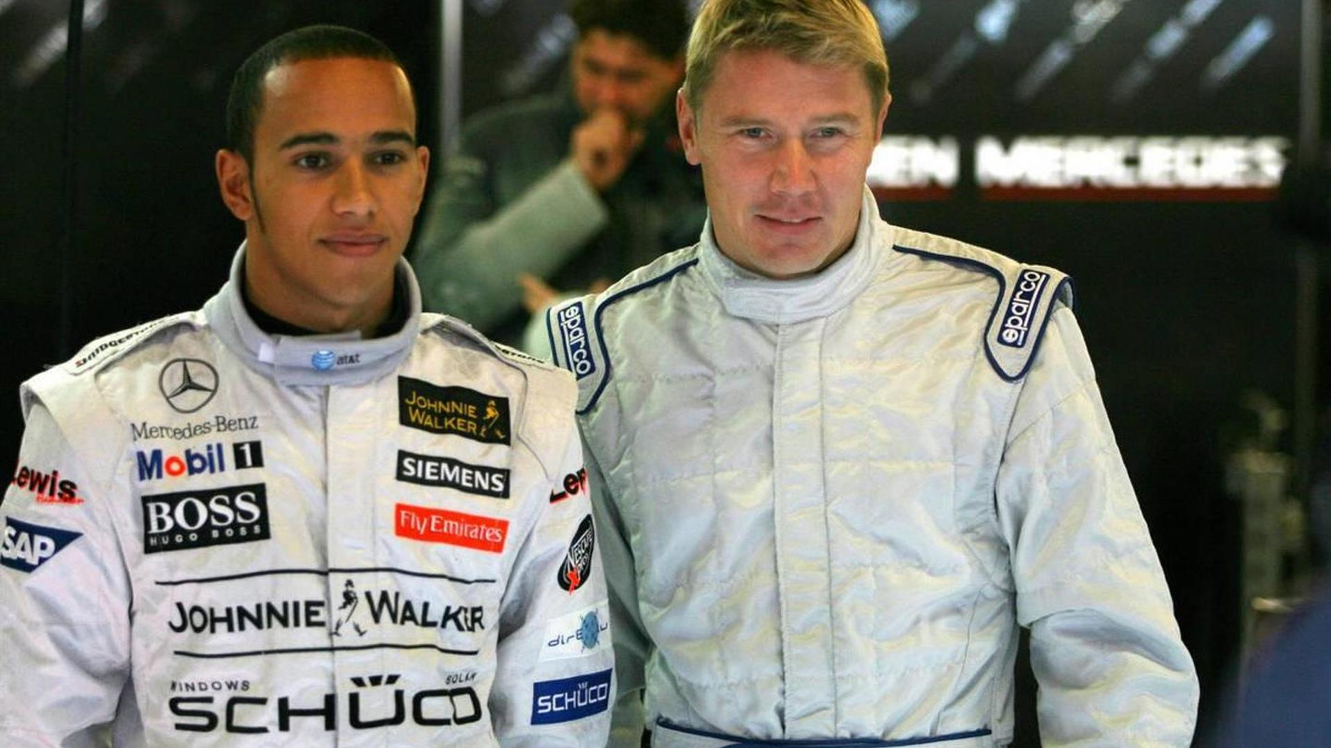 Photo of Mika Hakkinen & his friend driver  Levis Hamilton - Formula one