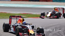 Daniel Ricciardo, Red Bull Racing RB12 leads team mate Max Verstappen, Red Bull Racing RB12
