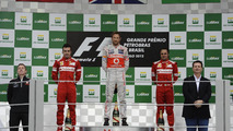 Fernando Alonso, Jenson Button, Felipe Massa, Brazilian grand prix podium, 25.11.2012