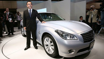 Nissan Fuga Hybrid and Nissan CEO Carlos Ghosn live in Tokyo