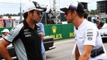 Sergio Perez, Sahara Force India F1 with Jenson Button, McLaren on the drivers parade