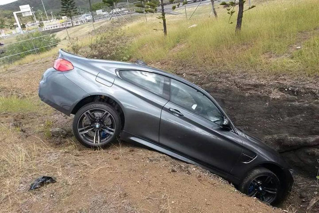 A New BMW M4 was Left High and Dry in a Ditch