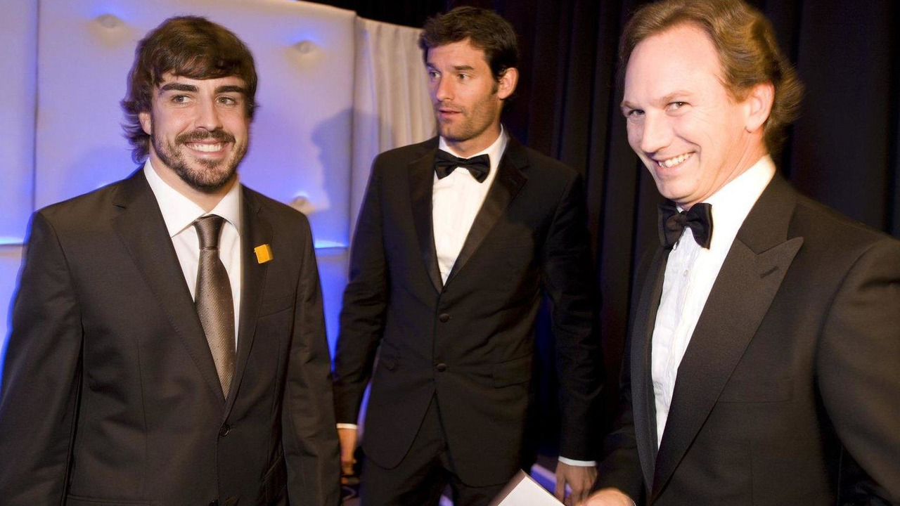 Fernando Alonso, Mark Webber and Christian Horner, 2010 FIA Gala Prize-Giving Ceremony 10.12.2010