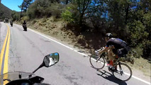 Cyclist passes motorcycles at over 80 km/h