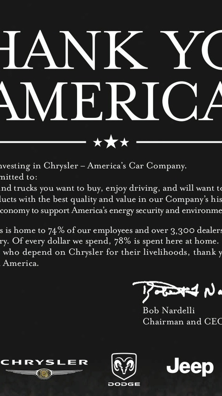 Chrysler Thank You America ad 31.12.2008