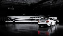 AMG Black Series 50' Marauder Cigarette boat with 2012 Mercedes C63 AMG Black Series car