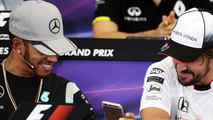 (L to R)- Lewis Hamilton, Mercedes AMG F1 and Fernando Alonso, McLaren in the FIA Press Conference