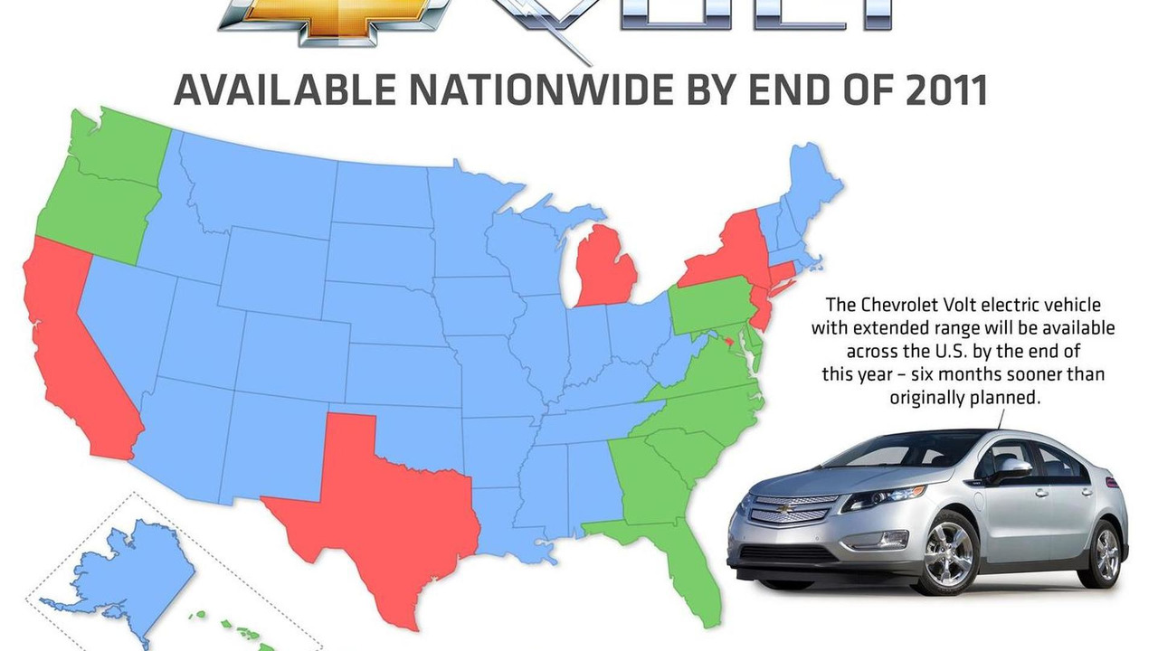 Chevrolet Volt launch map - 1.28.2011