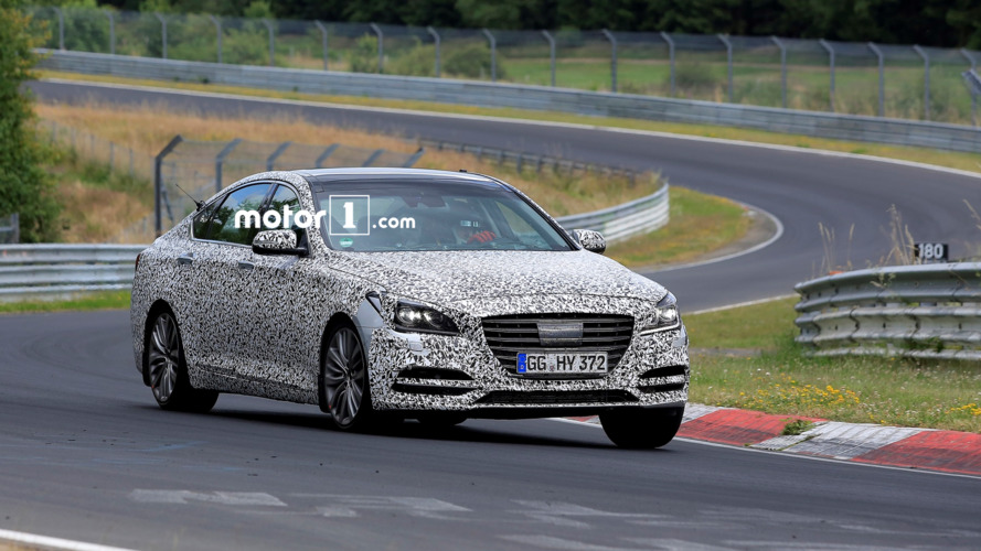 2017 Genesis G80 spied on track with rollcage and race seats
