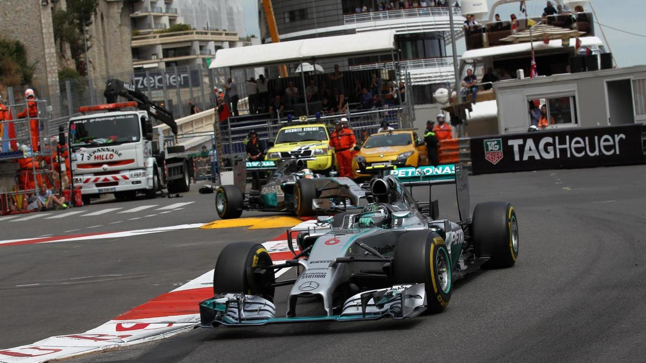 Nico Rosberg (GER) leads team mate Lewis Hamilton (GBR), 25.05.2014, Monaco Grand Prix, Monte Carlo / XPB