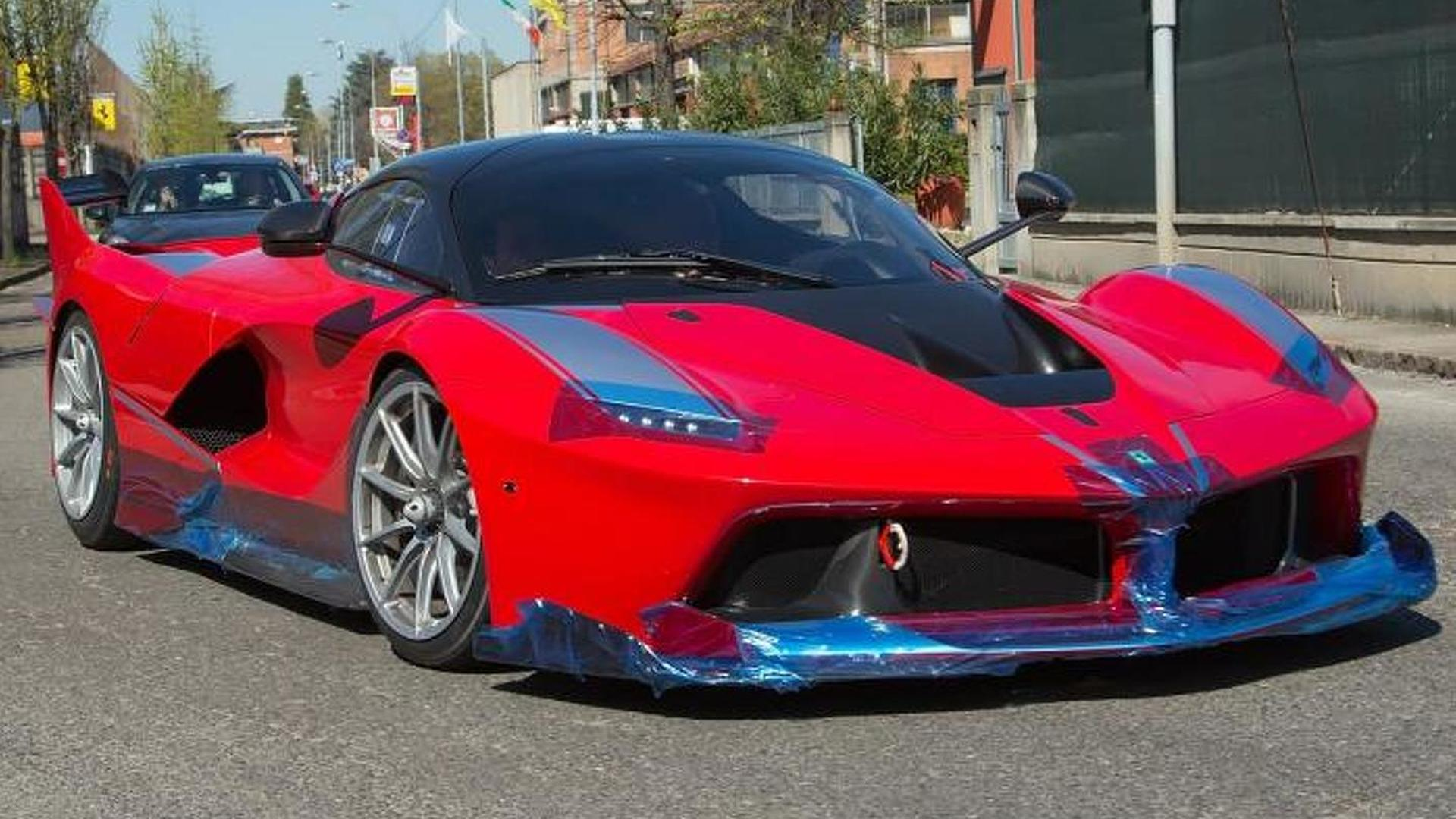 Ferrari FXX K photographed up close and personal on public road in Maranello