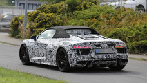 Audi's upcoming R8 Spyder keeps a full body camo in new spy shots