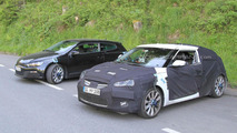 Hyundai Veloster Spied next to VW Scirocco