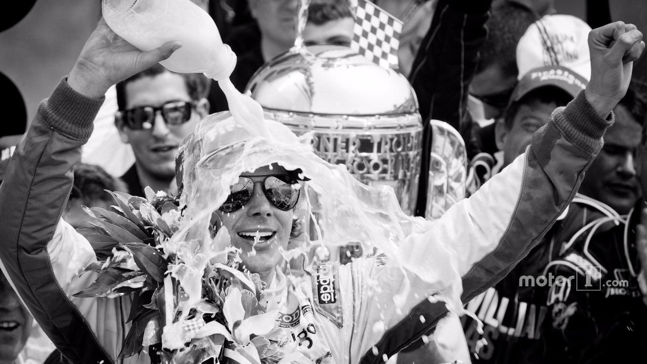 2011 Indy 500 race winner Dan Wheldon, Bryan Herta Autosport with Curb - Agajanian celebrates