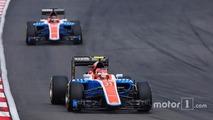 Esteban Ocon, Manor Racing MRT05 leads team mate Pascal Wehrlein, Manor Racing MRT05
