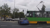 Speeding Audi RS6 driver crashes into tram [video]