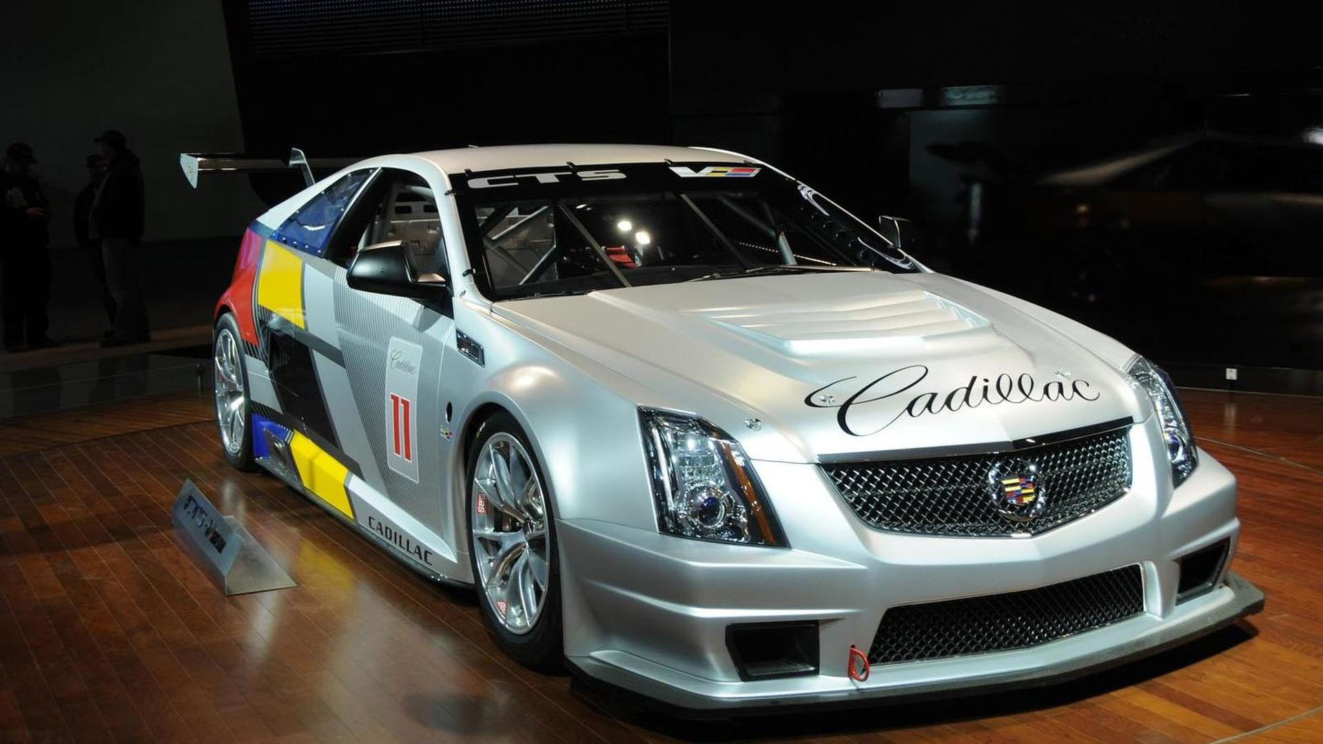 Cadillac CTS-V Racing Coupe crosses the finish line in Detroit