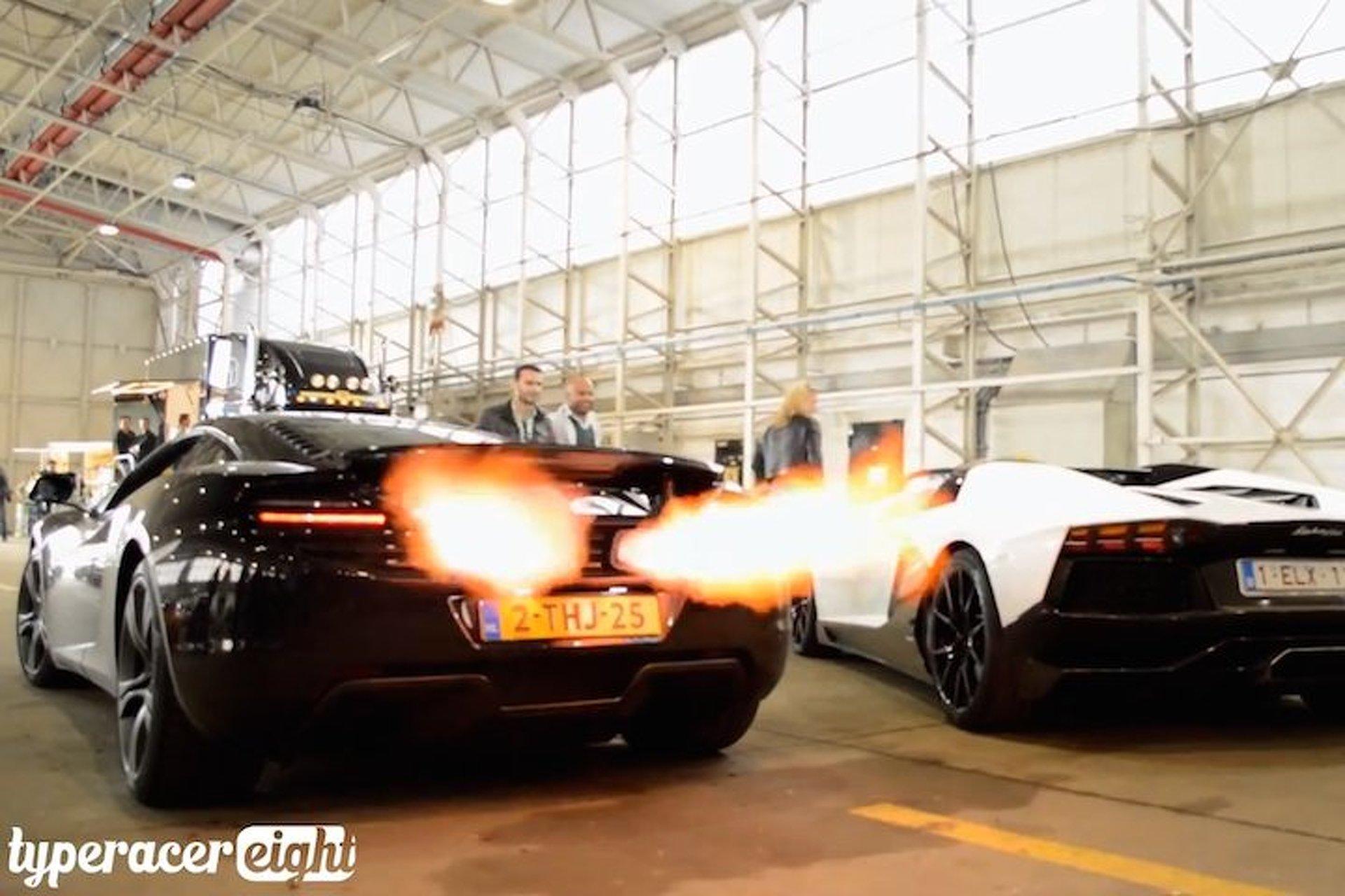 Lamborghini and McLaren Go Head-to-Head in Flamethrowing Battle [video]