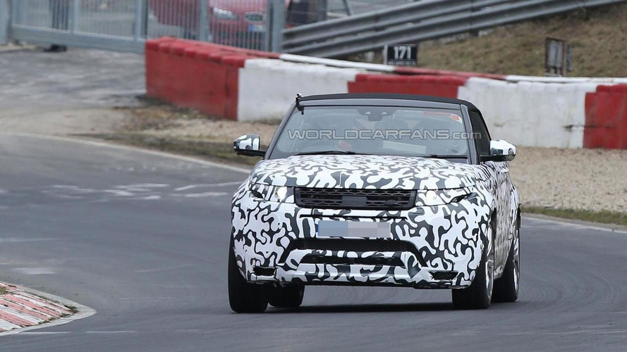 Range Rover Evoque Cabrio looks unnatural testing hard on the 'Ring [spy video]