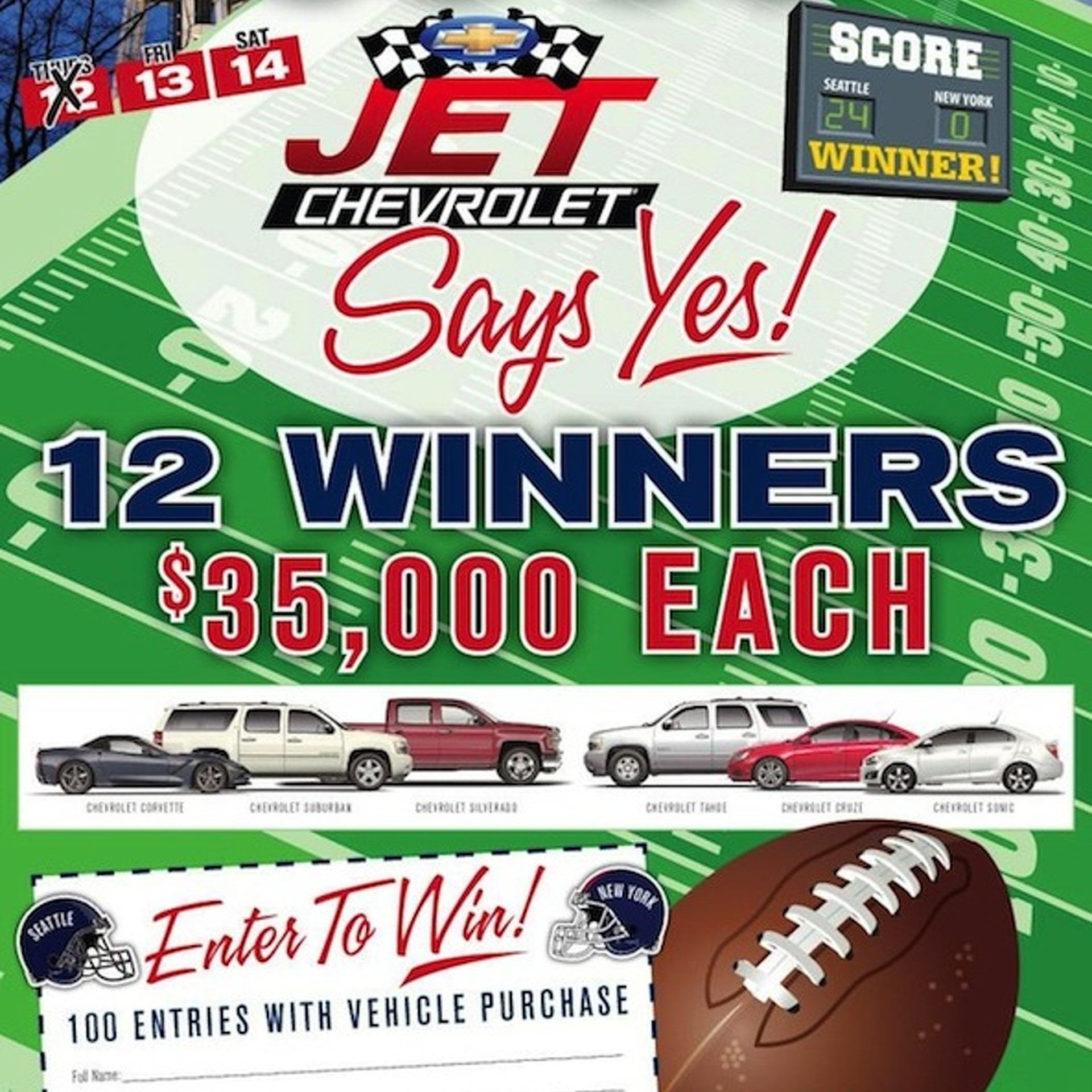 Seattle Chevy Dealer Has to Dish Out $420K After Seahawks Shutout Giants