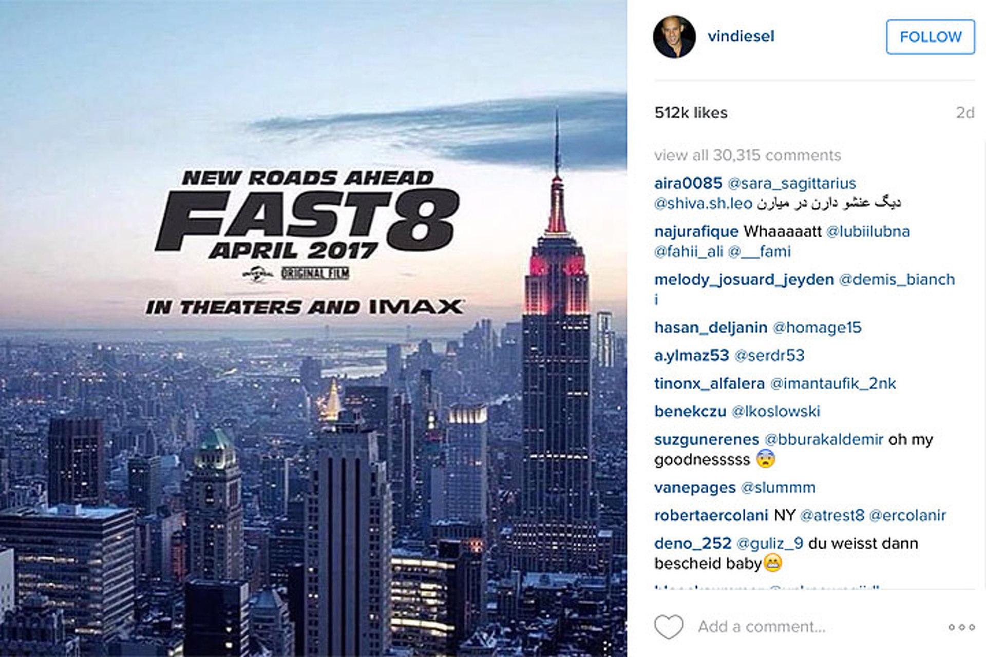 "Vin Diesel Reveals ""Fast 8"" Teaser Photo on Instagram"