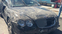 Bentley Continental GTC wrecked at car wash