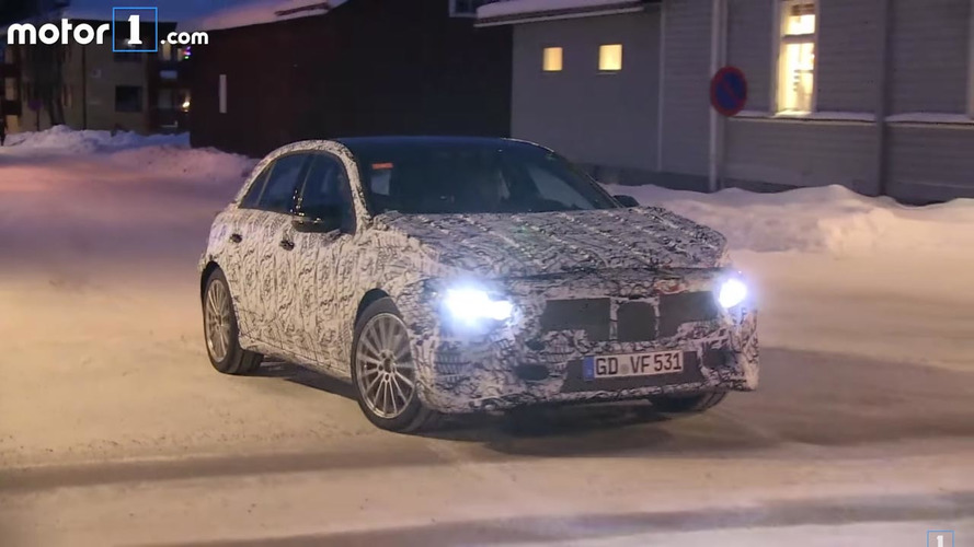 Next-gen Mercedes A-Class spied on video during winter testing