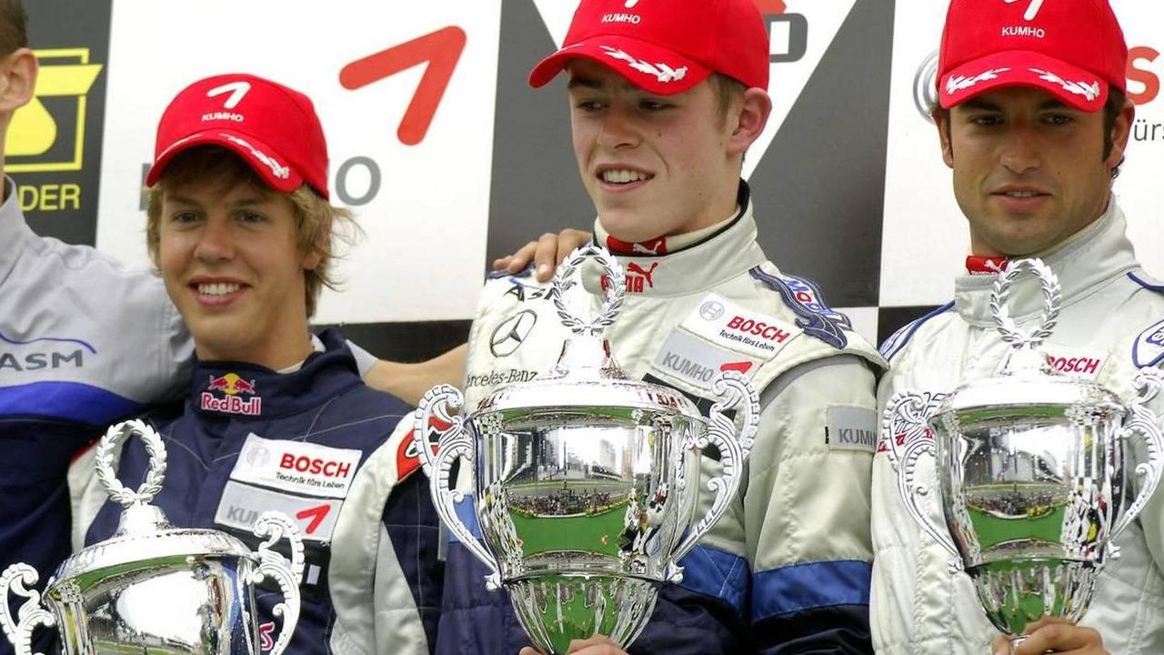 Sebastian Vettel (GER), ASM Formula 3, Dallara F305 Mercedes, Paul di Resta (GBR), ASM Formula 3, Dallara F305 Mercedes, Richard Antinucci (USA), HBR Motorsport, Dallara F305 Mercedes, F3 Euro Series 2006, Nürburgring, 20.08.2006 Nürburg, Germany
