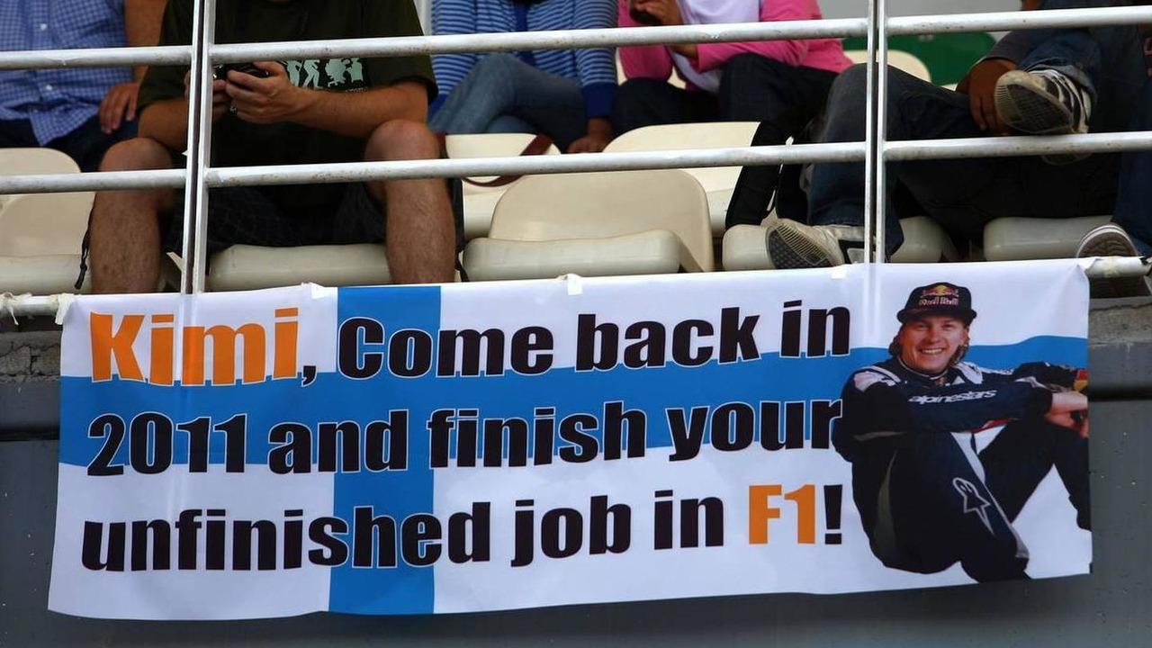 A banner for Kimi Raikkonen (FIN), Malaysian Grand Prix, 04.04.2010 Kuala Lumpur, Malaysia